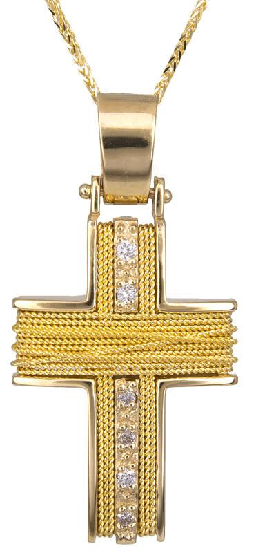 Γυναικείος σταυρός από χρυσό Κ18 με διαμάντια D015037C - Dimasis.gr 454d168b1f5
