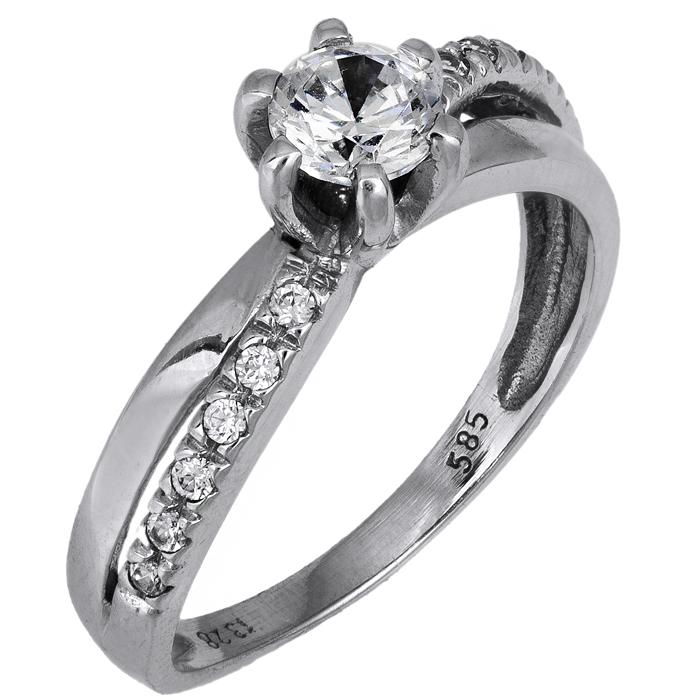 Λευκόχρυσο μονόπετρο δαχτυλίδι Κ14 με ζιργκόν D014793 - Dimasis.gr 2badd73ea21