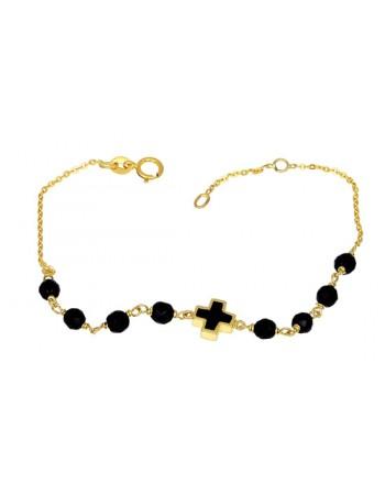 Χρυσό Βραχιόλι 14 καρατίων με όνυχα και μαύρο Σταυρό D000873 - Dimasis.gr 2ce967e9c9c