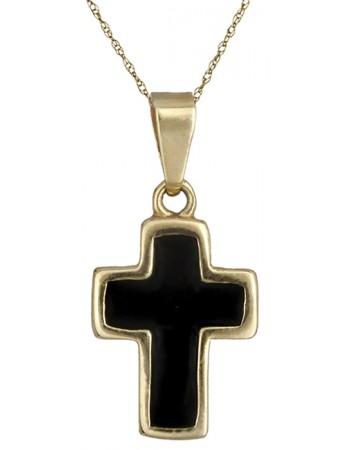 Χρυσός σταυρός γυναικείος Κ14 με μαύρο σμάλτο και χρυσή αλυσίδα ... 3013a543b0a