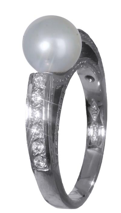 ... Λευκοχρυσο δαχτυλιδι 14Κ με μαργαριταρι και ζιργκον D002157. -23%.  Μεγέθυνση εικόνας a4933e68020