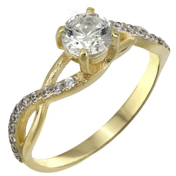 ... Χρυσο δαχτυλιδι swarovski Κ14 με λευκες ζιργκον D025522. -20% New 5f0df67e5e2