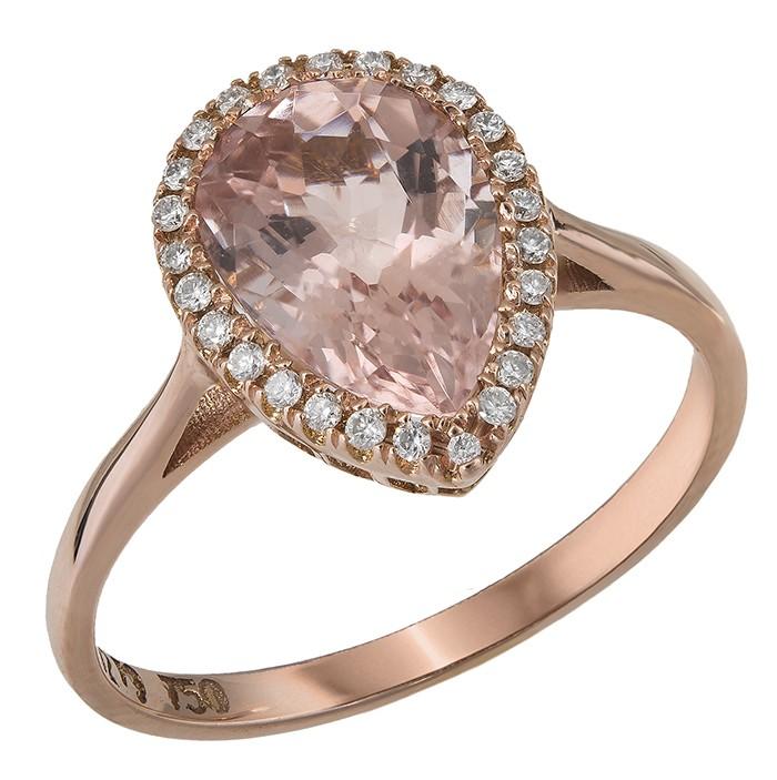 Ροζ gold δαχτυλίδι ροζέτα δάκρυ με μοργκανίτη Κ18 D028306 - Dimasis.gr 7dda8777e1c