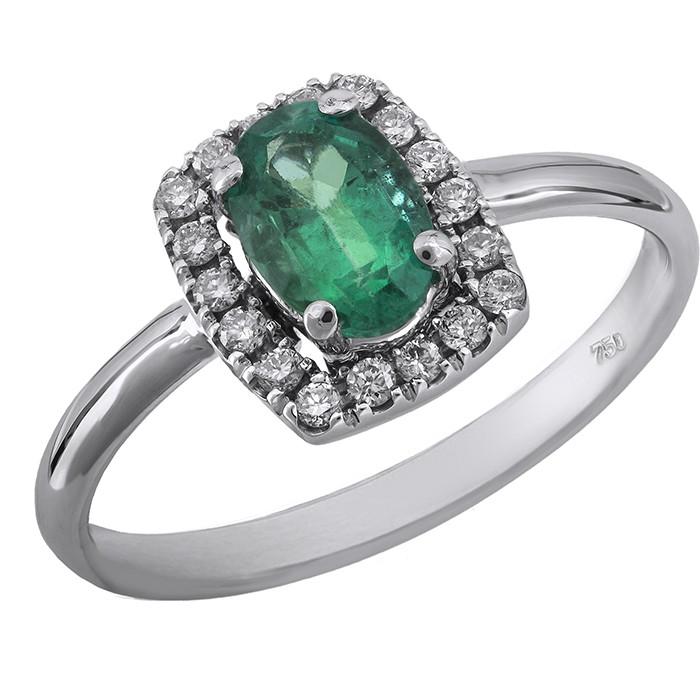 ... Λευκοχρυσο δαχτυλιδι με σμαραγδι και μπριγιαν Κ18 D029141. -20% New 417b00602ce