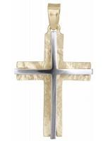 Δίχρωμος αντρικός σταυρός 14Κ D012301 D012301
