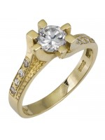 Χρυσό δαχτυλίδι 14Κ με ζιργκόν πέτρες D002601 D002601