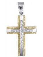 Γυναικείος Κ9 σταυρός σε διχρωμία D014851 D014851