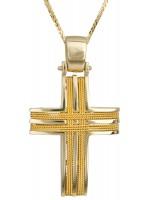 Συρματερός σταυρός σε χρυσό 14Κ με καδένα D016521C D016521C