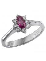Δαχτυλίδι ροζέτα Κ18 με διαμάντια και ρουμπίνι D016913 D016913