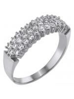Λευκόχρυσο δαχτυλίδι 14Κ με ζιργκόν πέτρες D002101 D002101