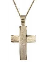 Χρυσός ανδρικός σταυρός Κ18 με αλυσίδα D020201C D020201C