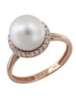 Ροζ gold δαχτυλίδι 14 Καρατίων με μαργαριτάρι και ζιργκόν D020933 D020933