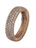 Ροζ gold σειρέ δαχτυλίδι Κ14 με ζιργκόν D022303 D022303