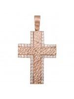 Ροζ χρυσός σταυρός με σκαλιστό σχέδιο και ζιργκόν 14Κ D023825 D023825