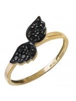 Δαχτυλίδι χρυσό Κ14 με μαύρα πετράτα φτερά D024354 D024354