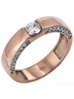 Γυναικείο μονόπετρο δαχτυλίδι σε ροζ χρυσό Κ14 D024382 D024382