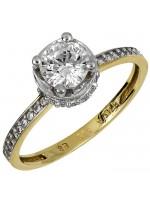 Δίχρωμο μονόπετρο δαχτυλίδι με ζιργκόν Κ14 D024906 D024906