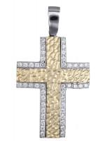Δίχρωμος σταυρός γυναικείος 14Κ με ζιργκόν D012180 D012180