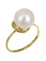 Δαχτυλίδι χρυσό με μαργαριτάρι και διαμάντια Κ18 D016368 D016368
