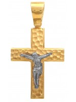 Δίχρωμος σταυρός 14 καράτια με τον Εσταυρωμένο D006895 D006895