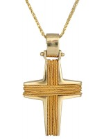 Χρυσός αντρικός σταυρός Κ14 με αλυσίδα D007884C D007884C
