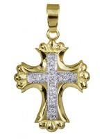 Δίχρωμος σταυρός για κορίτσι 14 καρατίων D010343 D010343