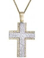Δίχρωμος σταυρός βάπτισης 14Κ DC011266 D011266C