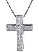 Γυναικείος σταυρός με διαμάντια 18Κ DC011311 D011311C