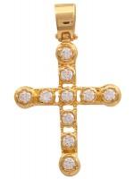 Σταυρός με πέτρες ζιργκον, χρυσός 14Κ D011468 D011468