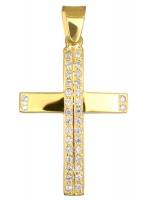 Χρυσός σταυρός με πέτρες Κ14 D012984 D012984
