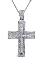 Λευκόχρυσος ανάγλυφος σταυρός για κορίτσι Κ14 D013957C D013957C