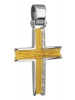 Δίχρωμος γυναικείος σταυρός 14Κ D014276 D014276