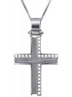Λευκόχρυσος ανδρικός σταυρός με σύρμα Κ14 D014280C D014280C