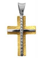 Δίχρωμος ανάγλυφος σταυρός 9Κ με ζιργκόν D014289 D014289
