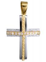 Δίχρωμος 14Κ χειροποίητος σταυρός D015092 D015092