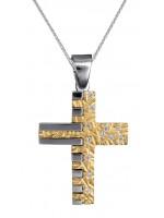 Γυναικείος σταυρός δίχρωμος 14Κ με λευκόχρυση καδένα D015108C D015108C