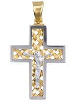 Αντρικός δίχρωμος σταυρός 14Κ D015114 D015114
