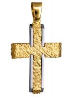 Ανάγλυφος δίχρωμος σταυρός 9Κ D015127 D015127