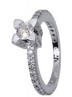 Λευκόχρυσο μονόπετρο δαχτυλίδι Κ18 D015969 D015969