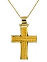 Χρυσός συρματερός σταυρός με καδένα Κ14 D016524C D016524C