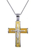 Δίχρωμος σταυρός βάπτισης με αλυσίδα Κ14 D016557C D016557C
