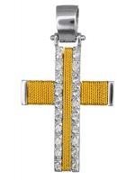 Συρματερός δίχρωμος σταυρός για κορίτσι 14Κ με ζιργκόν D016584 D016584