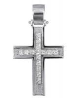 Λευκόχρυσος συρματερός σταυρός για κορίτσι 14 καρατίων D016589 D016589