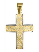 Γυναικείος δίχρωμος σταυρός βάπτισης 9Κ D016611 D016611