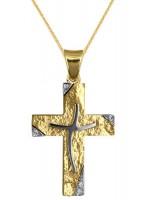 Δίχρωμος ανάγλυφος σταυρός για κορίτσι 9Κ με αλυσίδα D016620C D016620C