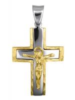 Αντρικός δίχρωμος σταυρός 14Κ με τον Εσταυρωμένο D016628 D016628