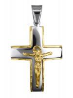 Δίχρωμος βαπτιστικός σταυρός για αγόρι Κ14 D016632 D016632