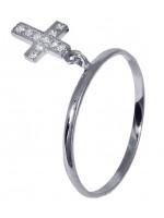 Δαχτυλίδι λευκόχρυσο με κρεμαστό σταυρό Κ14 D016672 D016672