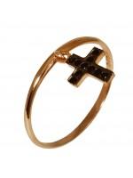 Δαχτυλίδι ροζ gold με κρεμαστό σταυρό Κ14 D016674 D016674