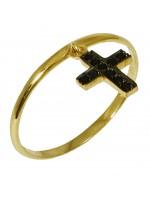Δαχτυλίδι χρυσό με κρεμαστό σταυρό Κ14 D016675 D016675